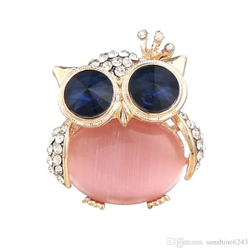 creative new fashion boutique alloy diamond pink brooch cute owl fine jewelry party accessory free shipping