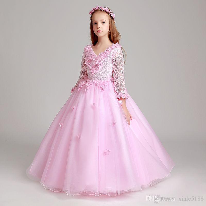 Wedding di colore rosa del merletto del Organza Flower Girl Dress Principessa bambini Pageant Dance Party