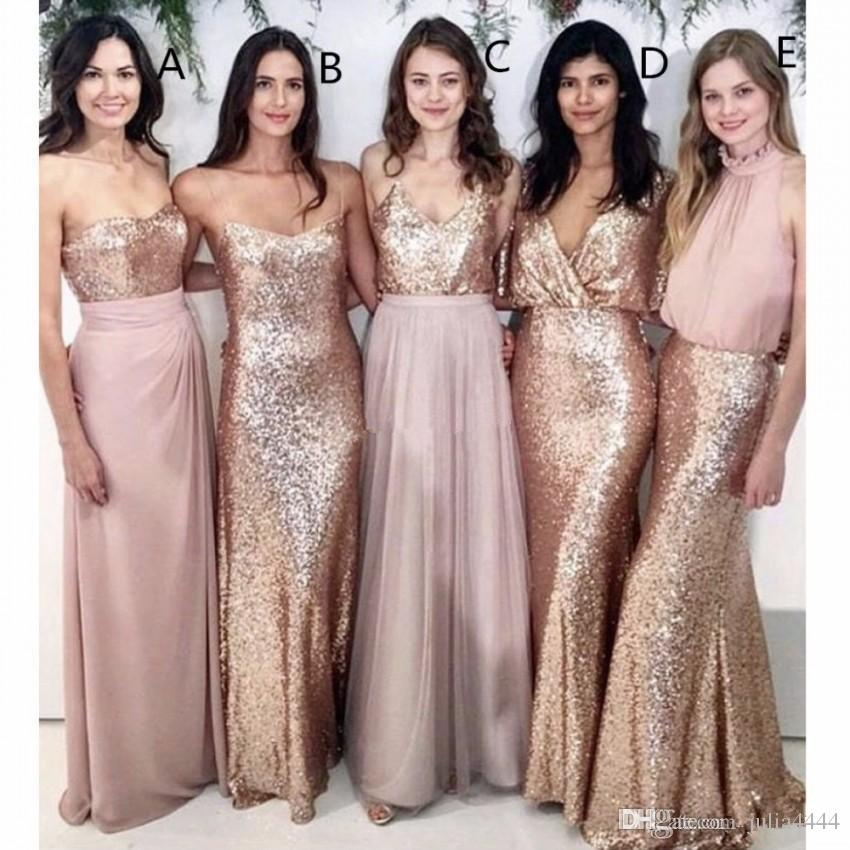 Modest Blush Pink Beach Wedding Bridesmaid Dresses with Rose Gold Sequin Mismatched Wedding Maid of Honor Gowns Women Party Formal Wear 2019