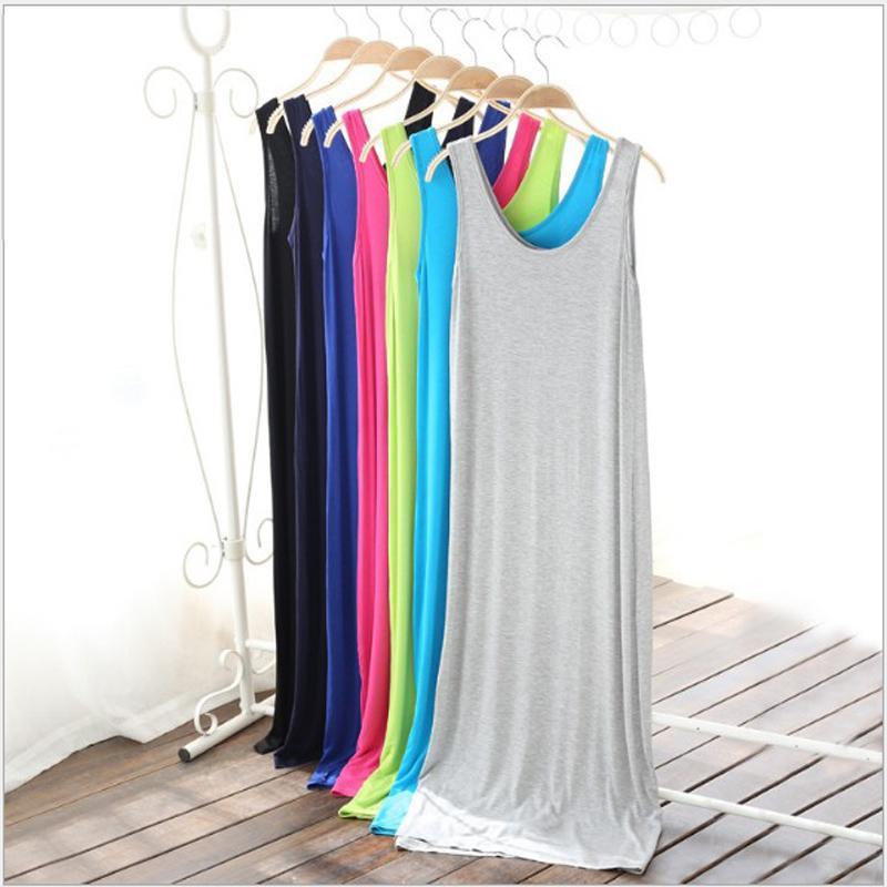 50pcs / lot tutti in forma estate Sundresses femminile Abito lungo donne Boho Beach casuale o collo senza maniche Large Size Vestiti Robe sexy