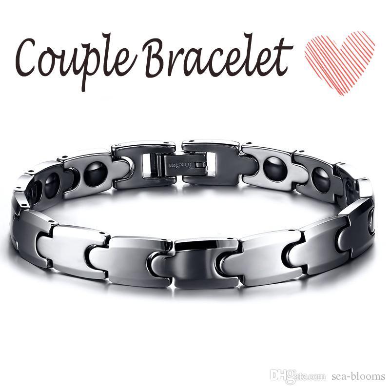 Couples Fashion Tungsten Steel Bracelet Wholesale Health Bracelet Magnetic Tungsten Hematite Silver Couple Bracelet Trends Accessories B864S