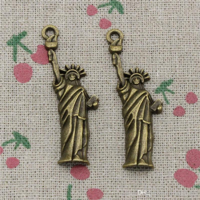 40pcs Charms statue of liberty new york 49*14mm Antique Bronze Pendant Zinc Alloy Jewelry DIY Hand Made Bracelet Necklace Fitting
