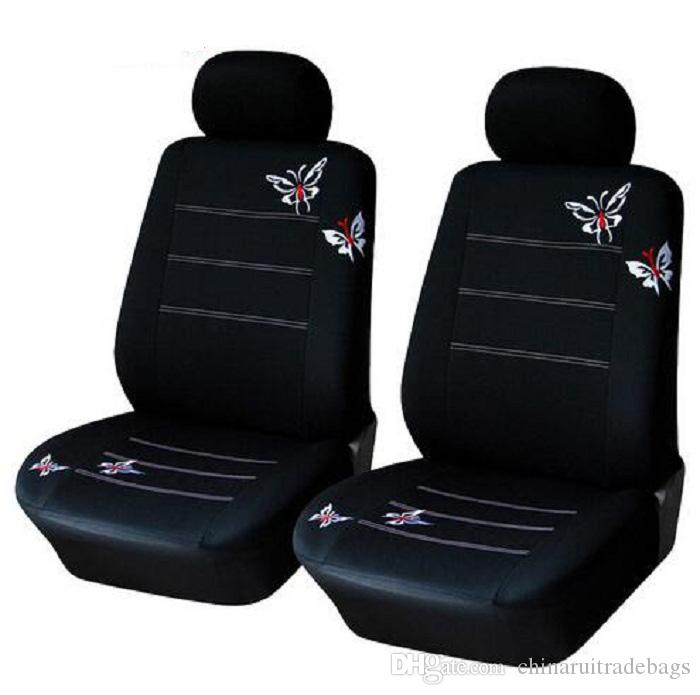 4pcs / set voiture avant Housse de siège fixe élastique respirant lavable papillon noir Fit SUV Universal