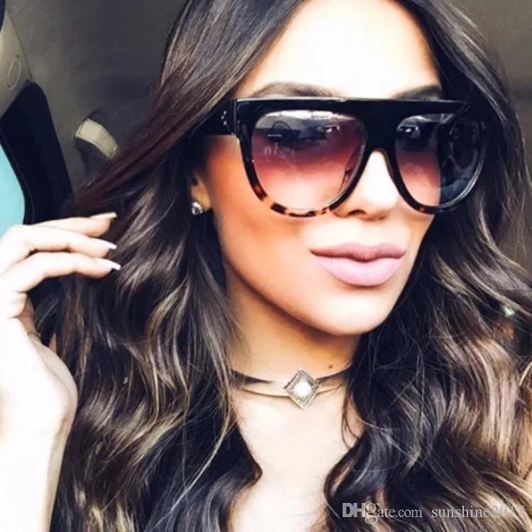 Düz üst güneş kadınlar büyük Marka Güneş Gözlükleri Ayna Güneş Retro TORTOISE GÖLGE Butik gözlük kim kardashian güneş gözlüğü lunettes