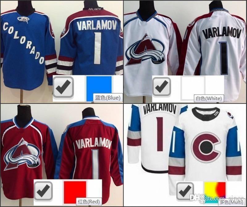 2016 NIEUW, Colorado Avalanche 1 Semyon Varlamov Stadium Serie Jersey 2016 Nieuwe Blue Red White Varlamov Avalanche Ice Hockey Jerseys Che