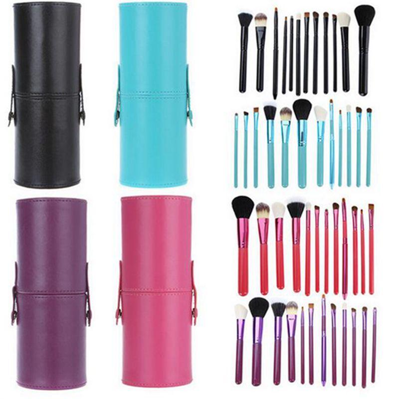 12 PCS Makeup Brush Set+Cup Holder Professional Makeup Brushes Set Cosmetic Brushes With Cylinder Cup Holder JJD2213