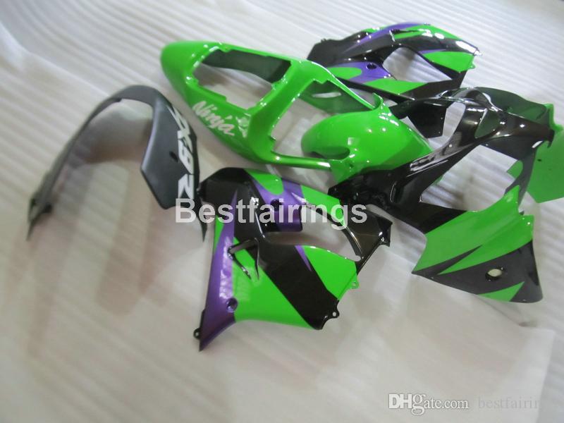 アフターマーケットボディパーツフェアリングキット川崎忍者ZX9R 02 03 Green Black FlamesシルバーフェアリングセットZX9R 2002 2003 IU21