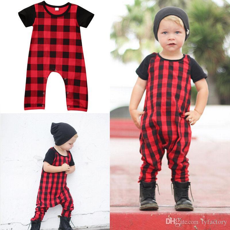 Newborn Infant Baby Boy Girl Plaid Romper Jumpsuit Bodysuit Outfits Kids Clothes