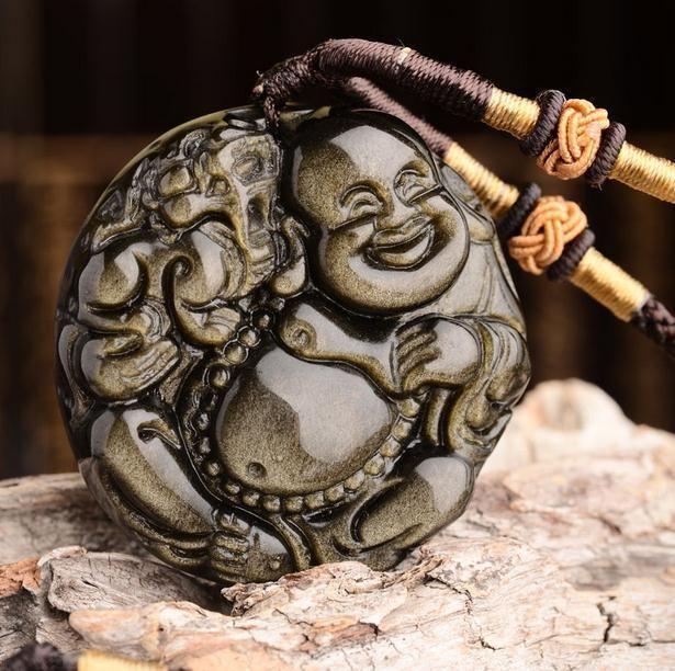 natural Gold Obsidian stone Hand carved  buddha  zen Meditation yoga pendants
