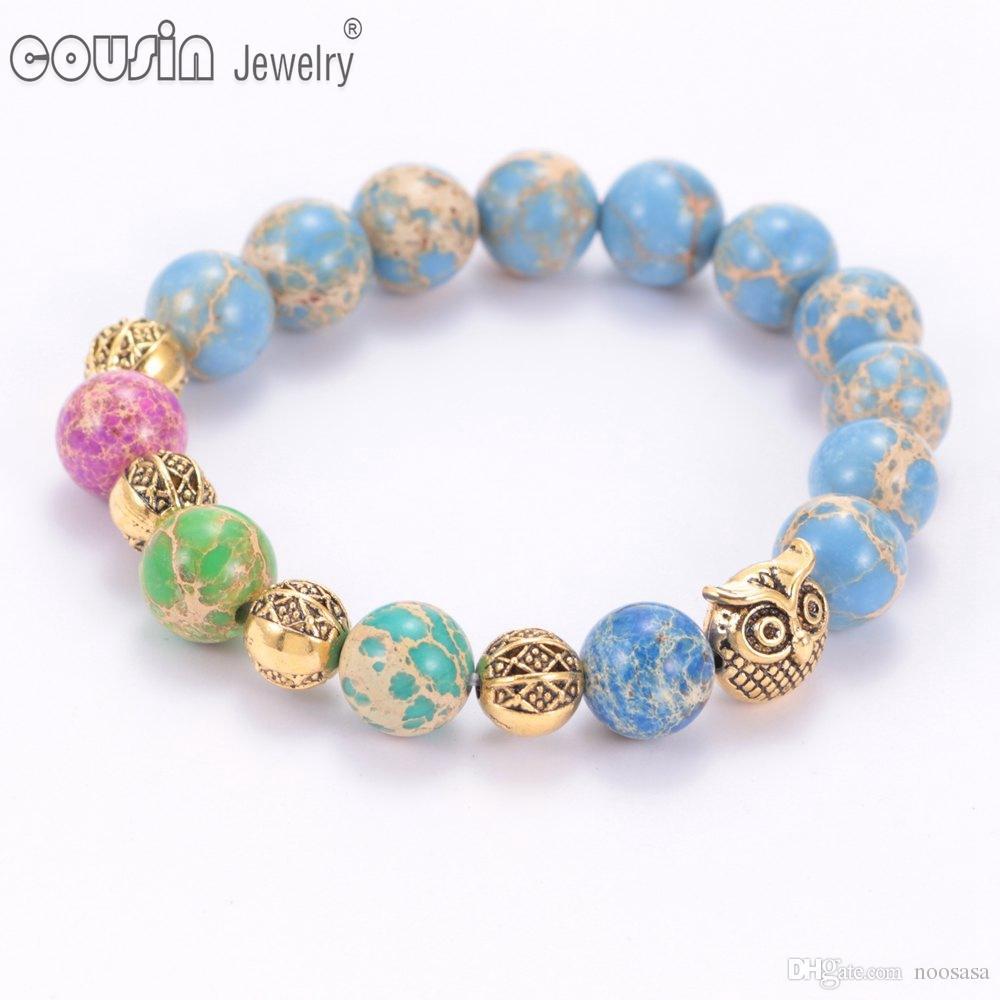 Os recém-chegados moda coruja charme colorido frisado pulseira de alta qualidade pulseira de pedra natural para as mulheres jóias SZ0404