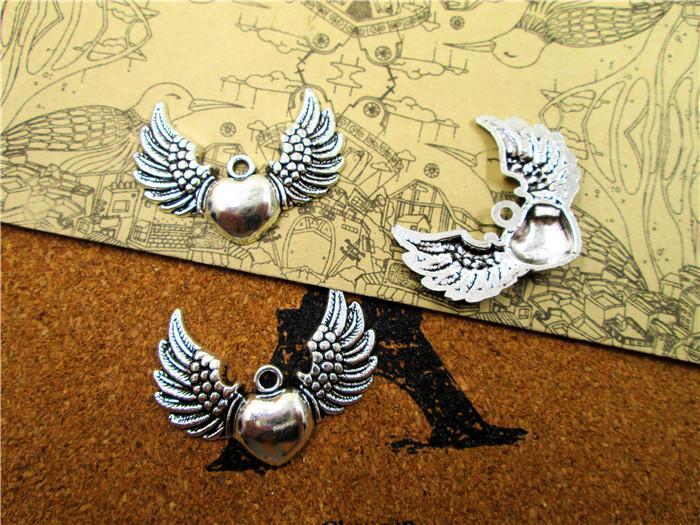 30 PC, coeur avec des ailes, ailes d'ange, aile pendentif, breloque coeur, argent antique, raccords, fabrication de bijoux, 38 * 28MM