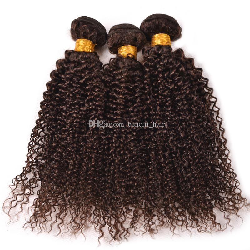 Malaysian Virgin Human Hair Bundles Kinky Curly Chocolate Brown Human Hair Weft Medium Brown #4 Wavy Hair Extension 3Pcs For Woman