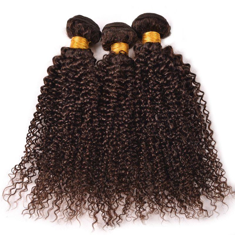 Bundles vergini malesi dei capelli umani Trama ricci crespi del ciuffo dei capelli umani Brown medio # 4 estensione dei capelli ondulati 3Pcs per la donna