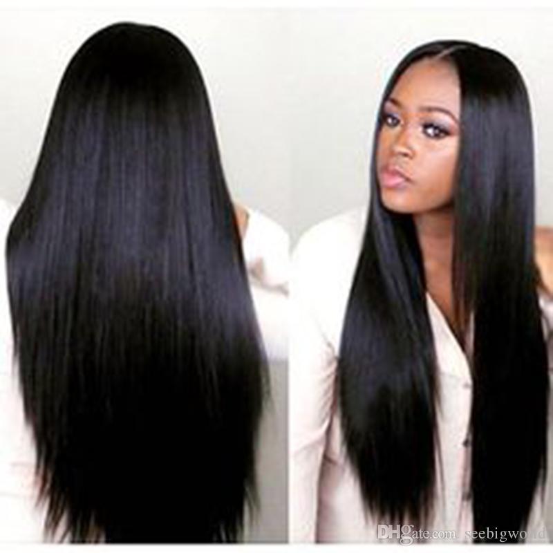 Vente chaude Soyeuse Droite Perruque Simulation De Cheveux Humains Pleine Droite Perruques Couleur Naturelle Perruque Pour Les Femmes Noires En Stock