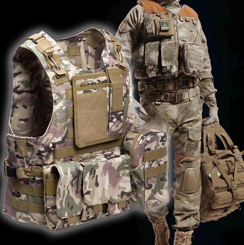 Chaleco táctico 7 colores para hombre del ejército chaleco de caza al aire libre campo de batalla CS Molle chaleco de combate placa de asalto portador chaleco de caza