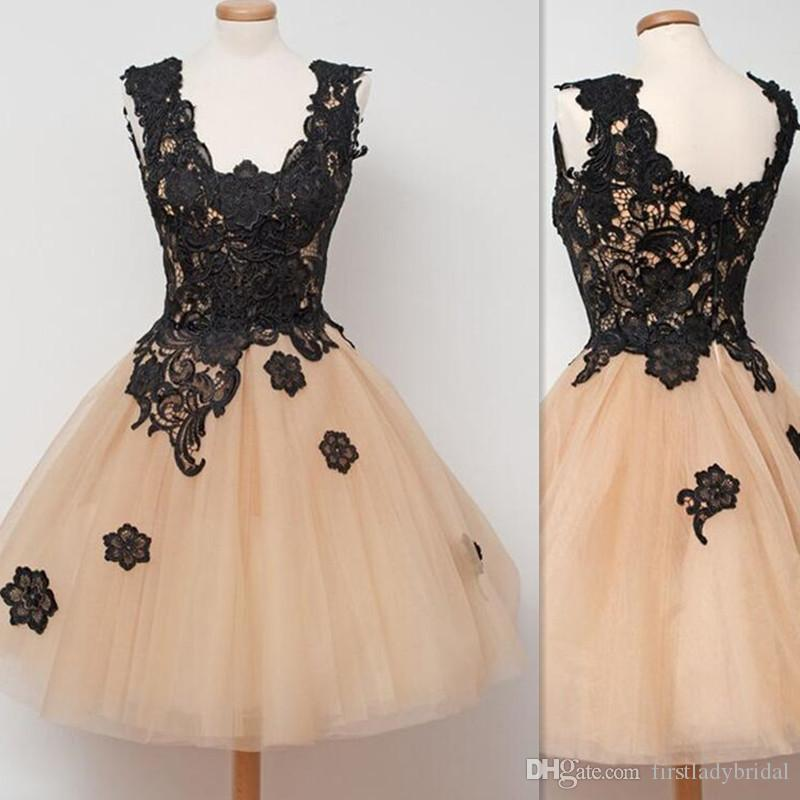 Real Image Short Homecoming Dresses 2017 Appliqued Tulle Girls Prom Gowns Sexy Ball Gown Cocktail Dress