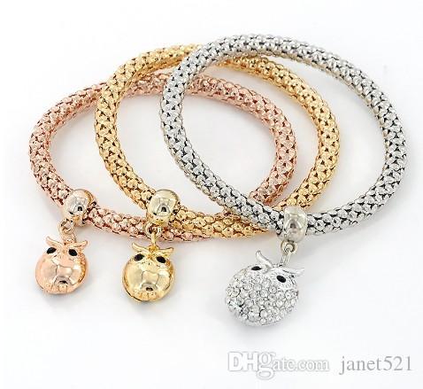 3PCS oro / plata / oro de Rose del tono de maíz Cadena pulseras del estiramiento para las mujeres