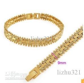 pulseira cheia de ouro dos homens largura 200 * 9mm frete grátis