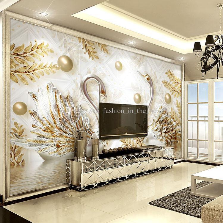 3d-swan-designed-wallpaper
