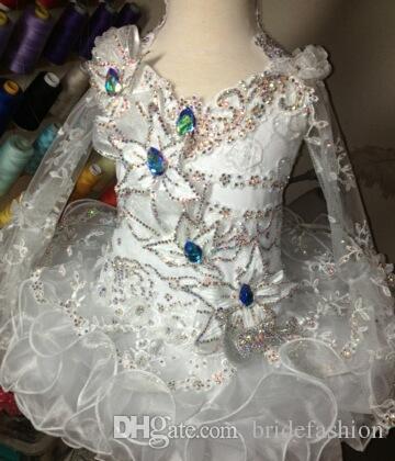 Halter pizzo perline manica lunga bianco a buon mercato arco mini abito palla cupcake toddler bambine pageant abiti ragazze di fiore per matrimoni glitz