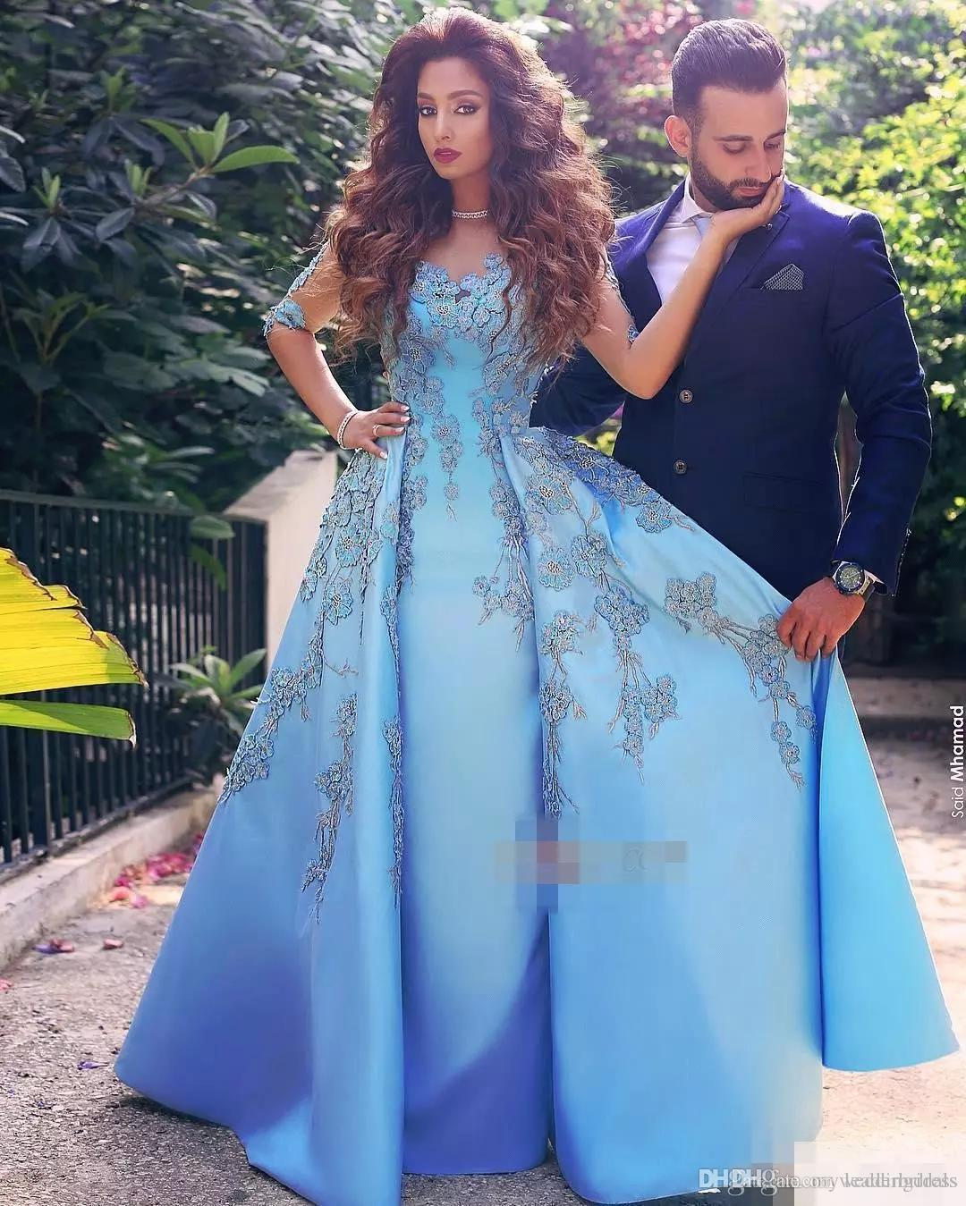 2017 Elegant Light Sky Blue Women Formal Evening Gowns Lace ...