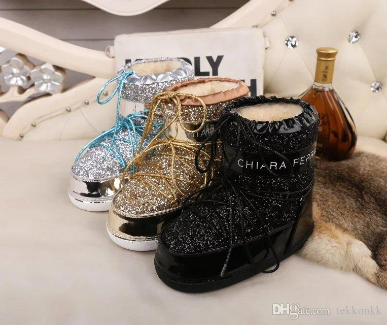 New Sequins Womens Snow Boots Winter