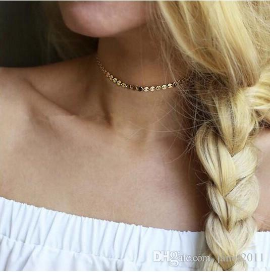 Women Necklace Choker Chains Charm Copper Gold /Silver Sequined Necklace Fashion Jewelry For Girls /Ladies
