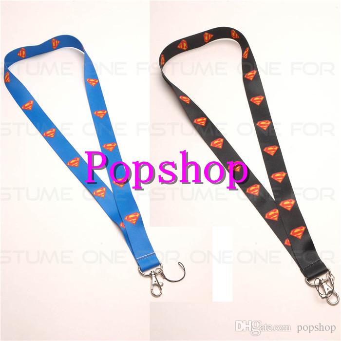 Hot sale!50pcs Mix Super Hero Superman Logo Style Mobile Phone Lanyard Key Chain Strap Charms Black/Blue Lanyard