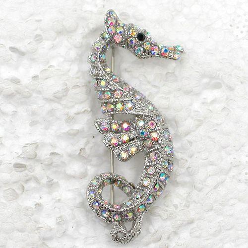 12pcs / lot 도매 크리스탈 라인 석 바다 말 패션 의상 핀 브로치 쥬얼리 선물 C315