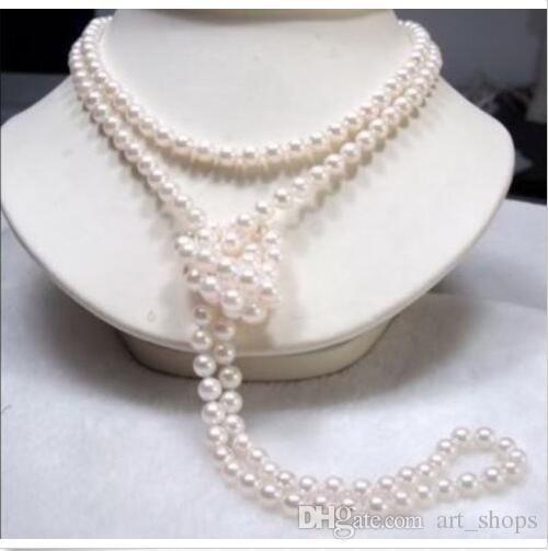 """FFree SHIPPING ** Lange 65"""" 7-8mm echte natürliche weiße Akoya Cultured Perlenkette"""