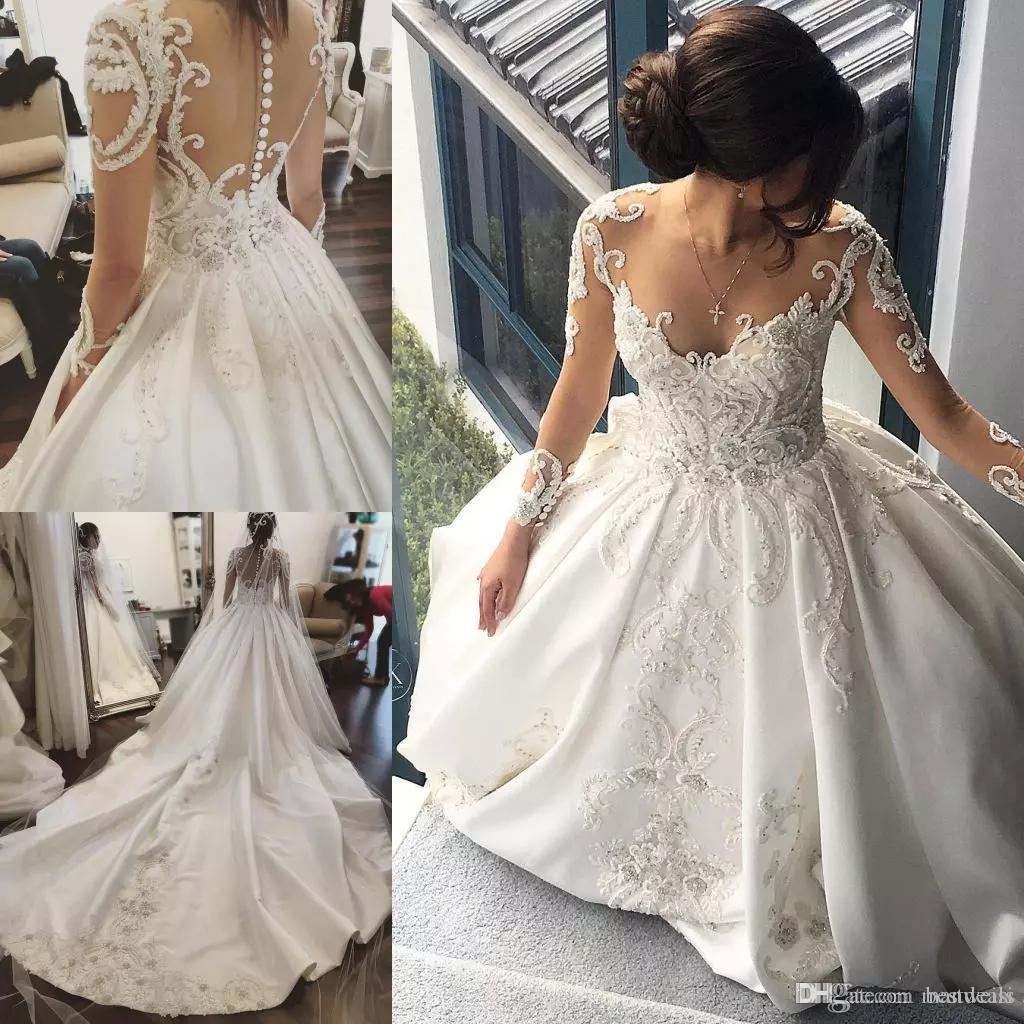 كم طويل 2020 فساتين زفاف الرباط زين كريستال شير الرقبة أثواب الزفاف كاتدرائية قطار الحرير زائد حجم فستان الزفاف