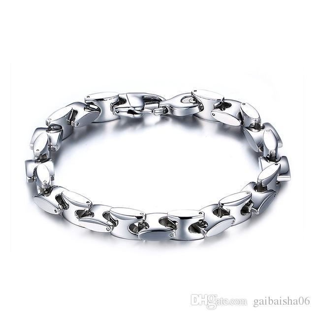 Einfache armbänder metall kette männer schmuck 9mm breite männer bracelctsbangles edelstahl männer armbänder armreifen
