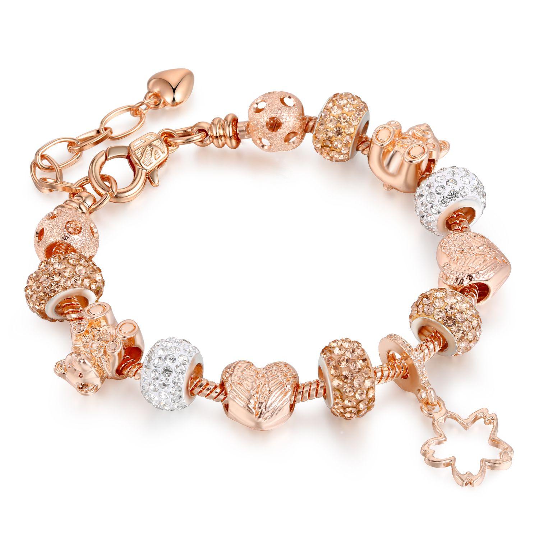 Crazyducks Gold Kette Kristall Bear Bead Engelsflügel Herz Charme Armbänder mit Stern Anhänger Für Frauen DIY Schmuck AA165