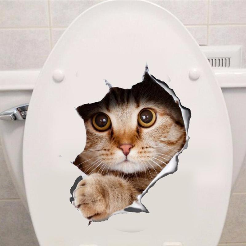 Vinyl waterproof Cat Dog 3D Wall Sticker Hole View Bathroom Toilet Living Room Home Decor Decal Poster Background Wall Stickers