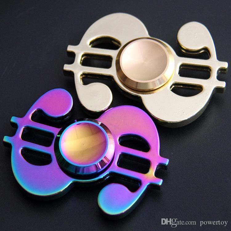 Mano Spinner modello dollaro spirale Tempo di rotazione lungo Giocattolo divertente in lega di alluminio Metallo EDC Fidget Spinner per bambini Adulti Giocattoli anti-stress