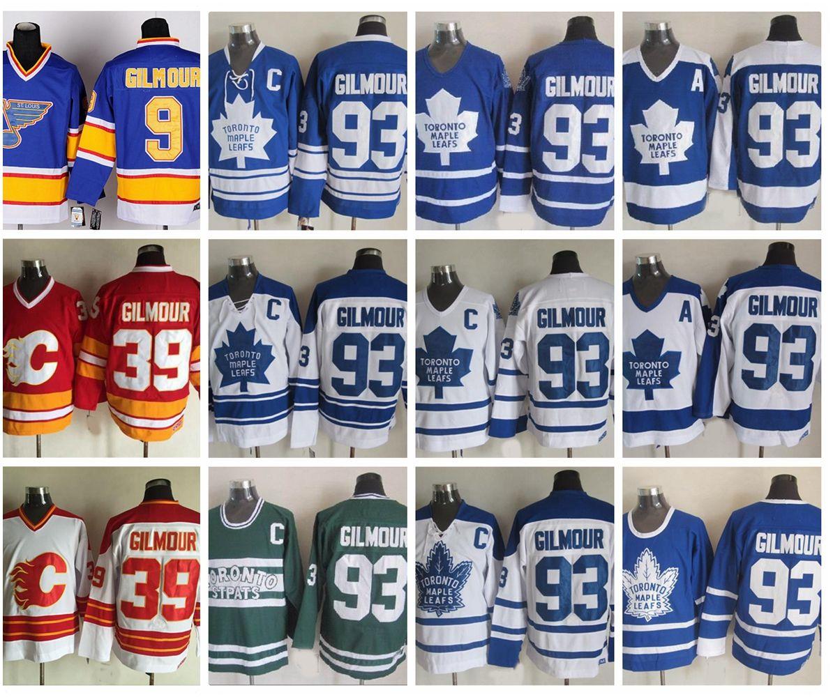 Doug Gilmour 93 Toronto Maple yaprakları 39 Calgary Flames 9 St. Louis Blues Hokey Jersey CCM Vintage Doug Gilmour Dikişli Jersey