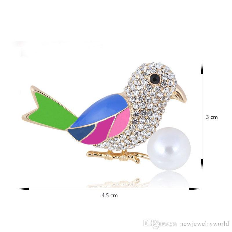 Lovely Crystal Bird Brooch Multicolor Enamel Very Popular Luckly Bird Brooch Pin Women Gift Broach Fashion Gold Alloy Diamante Collar Pin
