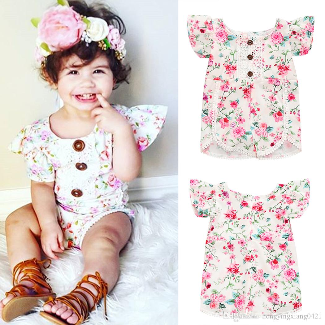 UK Kids Baby Girl Summer Clothes Flower Ruffle Romper Jumpsuit Outfits Sunsuit