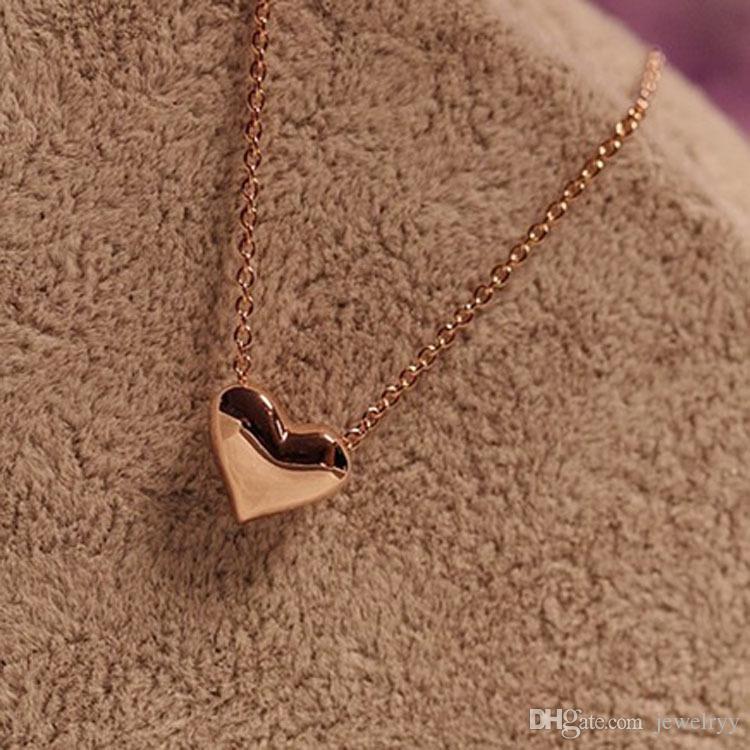 Mujer moda joyería amante corazón colgante collar gracia oro plata corazón collar para niñas mujeres regalos de boda