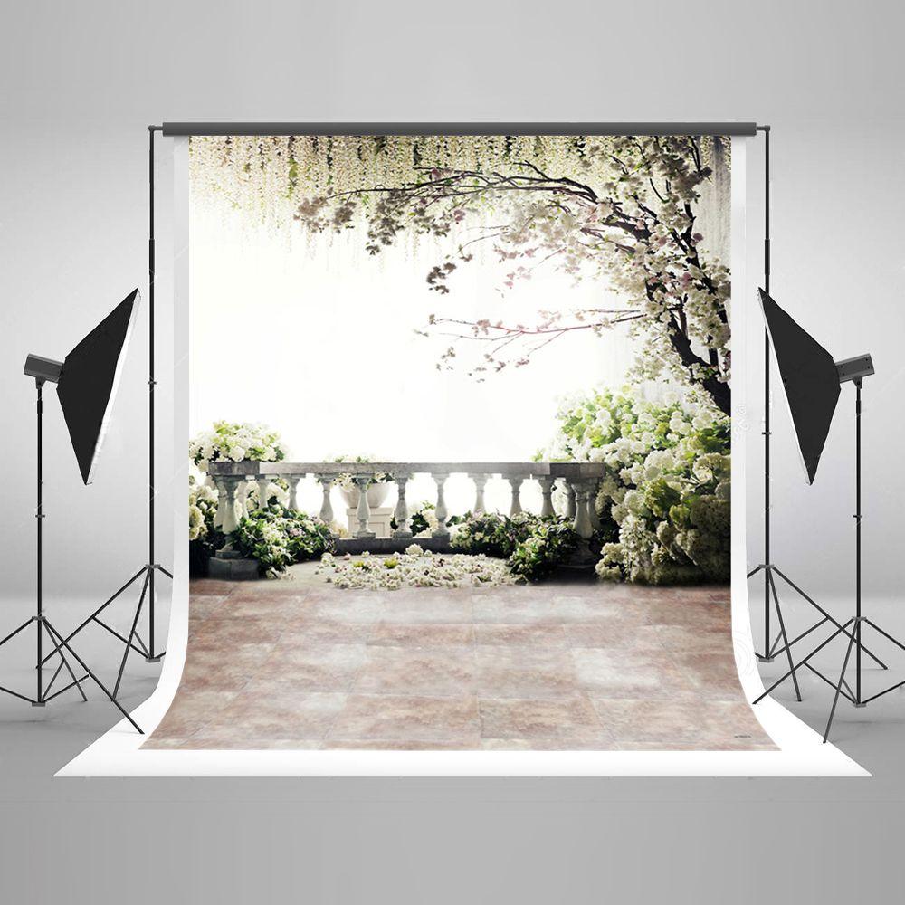 5x7ft (150x220 cm) Digital Photography Backdrops piso de tijolo de flores brancas fundo cenário Natural para o casamento Photo Studio Backdrop
