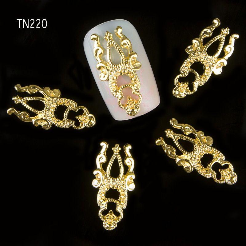 Wholesale-10pcs / lot 3D Golden Hollow Note Fascino Decorazioni per unghie Glitter gioielli in lega di strass DIY Nail Art Studs Strumenti TN220