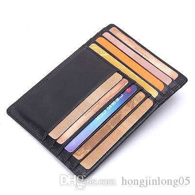 本革薄型クレジットカードホルダーメンズIDカードケースバンククレジットカード財布1010