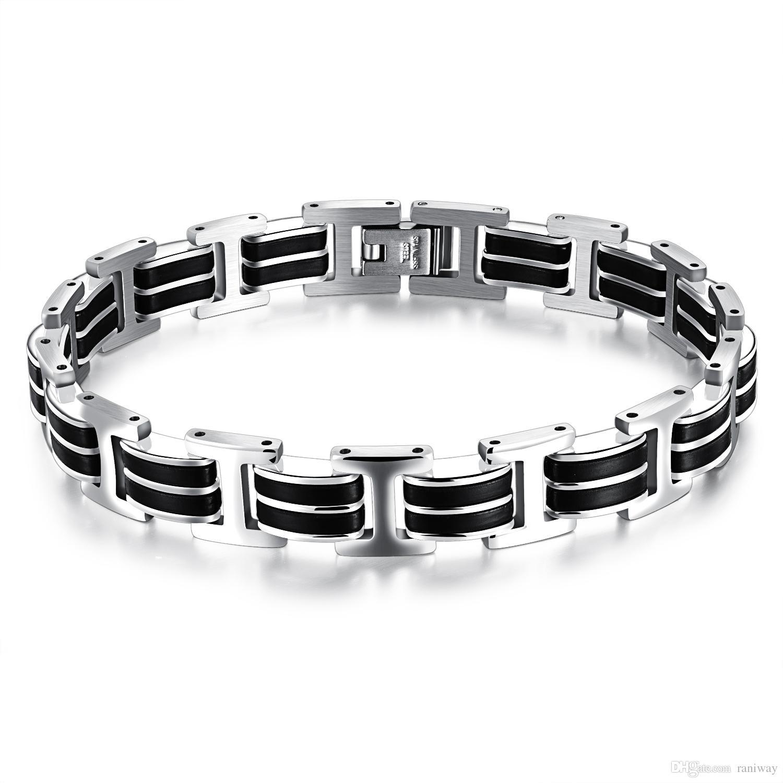 Braccialetto del braccialetto del polsino degli uomini del silicone genuino degli uomini di modo Braccialetto di stile casuale freddo dell'acciaio inossidabile Il doppio durezza di sicurezza tiene il regalo