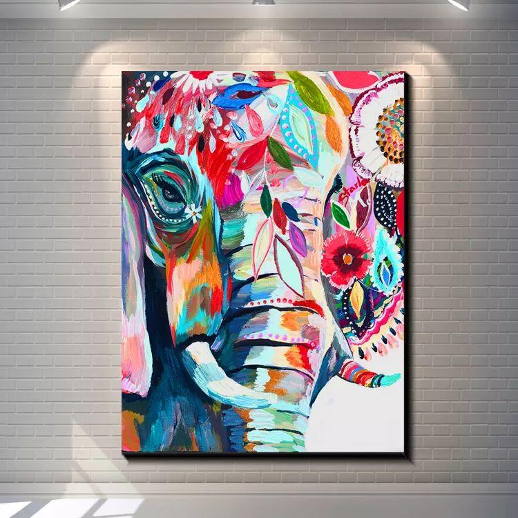 Animal enmarcado Vintage abstracto elefante creativo pintado a mano colorido Animal Art pintura al óleo sobre lienzo grueso pared decoración Multi tamaños r08