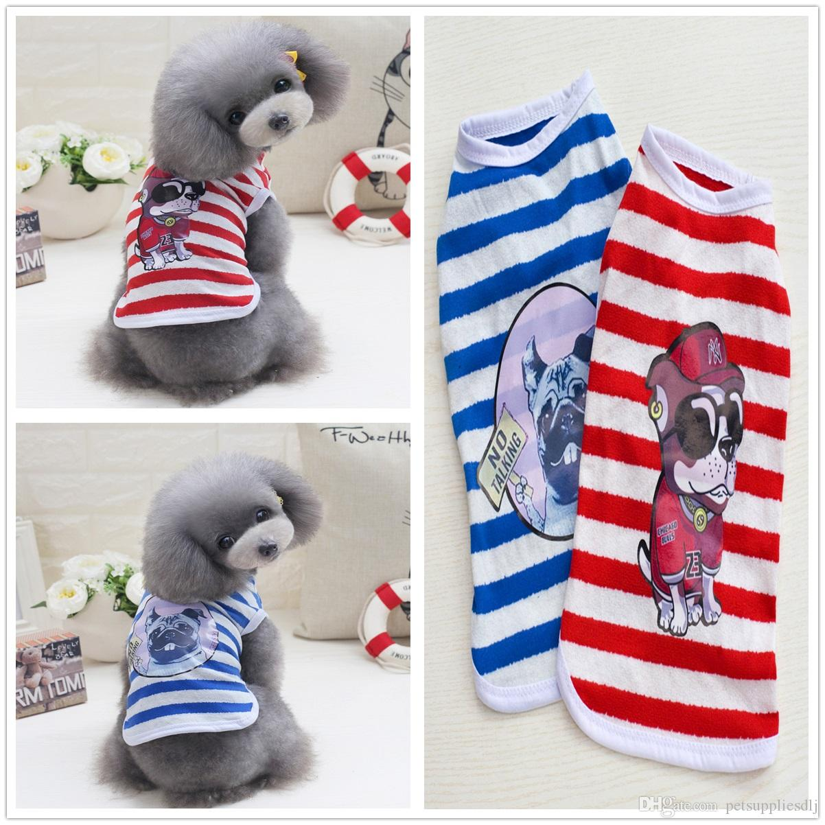 Y18 New design Summer Handsome Pet Vest clothes Cute Striped Puppy dogs Cats Shirts Vest Clothing Apparel for Yorkshire drop shipping