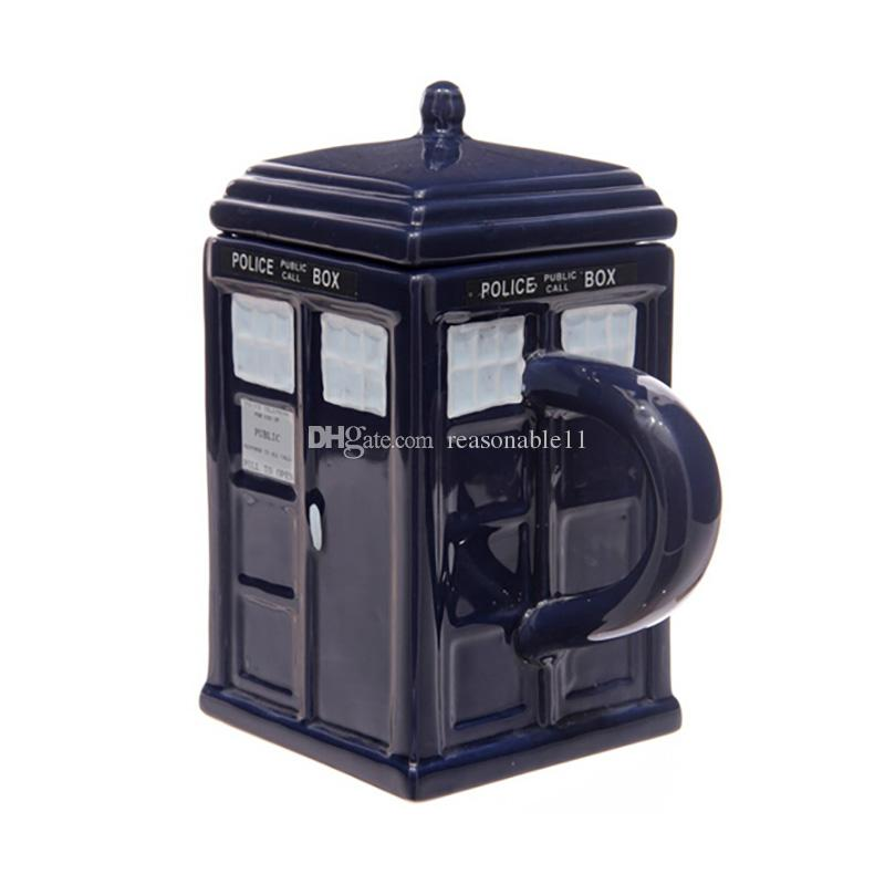 Water Cups Doctor Who: Tardis Mug Ceramic Mug With Removable Lid Cup Londres Police Blue with retail box