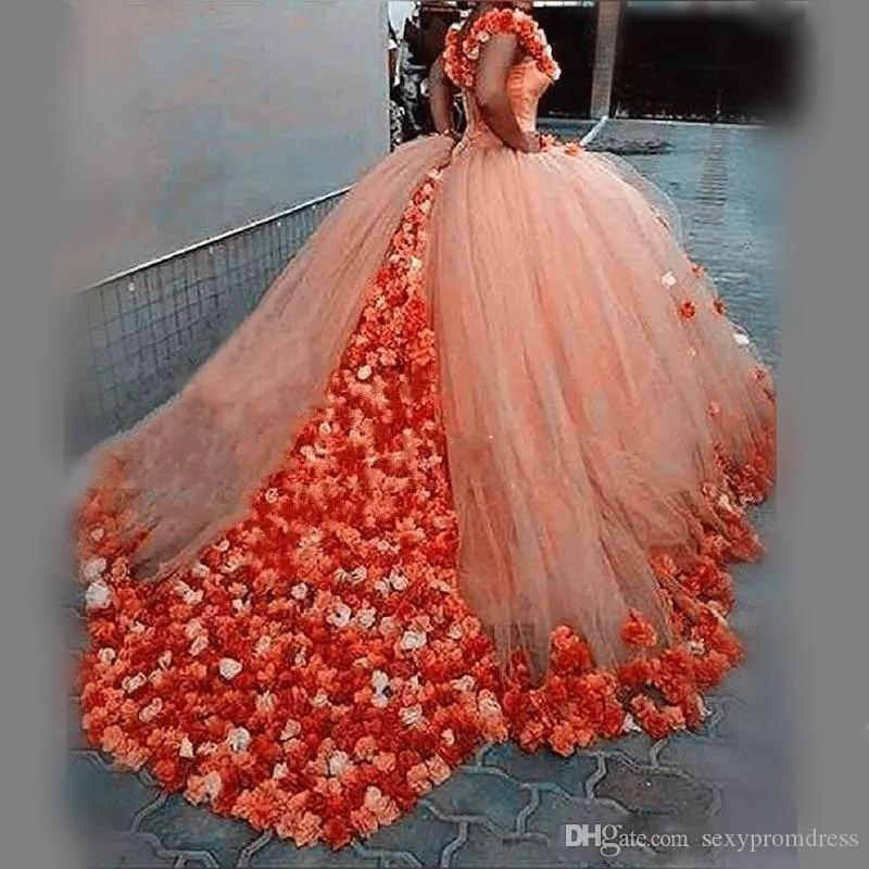 Acheter Couleur Orange Robes De Mariée Robe