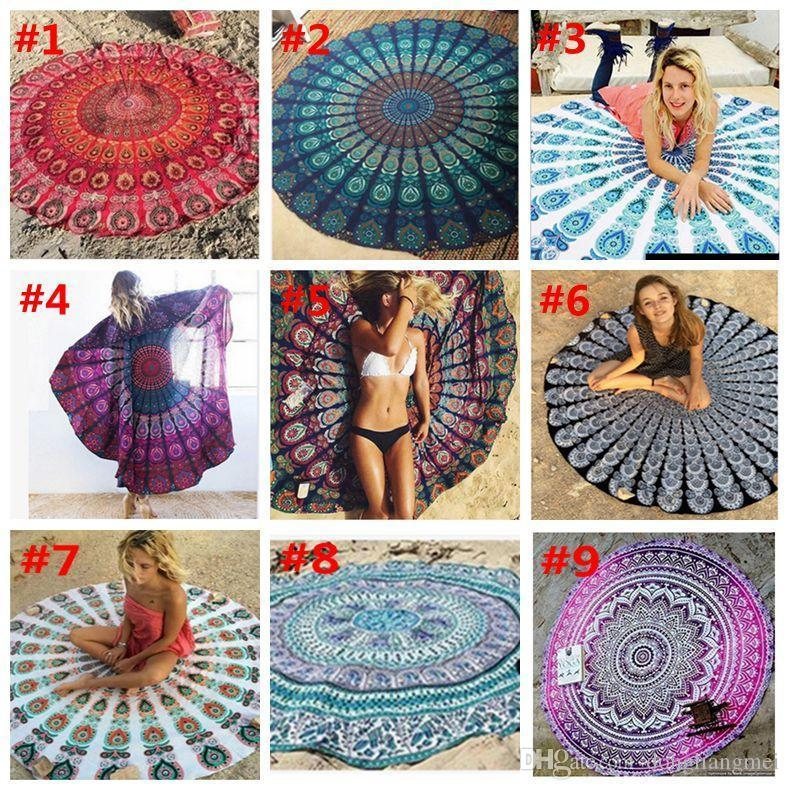 new Round Mandala Beach Towel Printed Tapestry Hippy Boho Tablecloth Bohemian Beach Towel Serviette Covers Beach Shawl Wrap Yoga Mat wn123