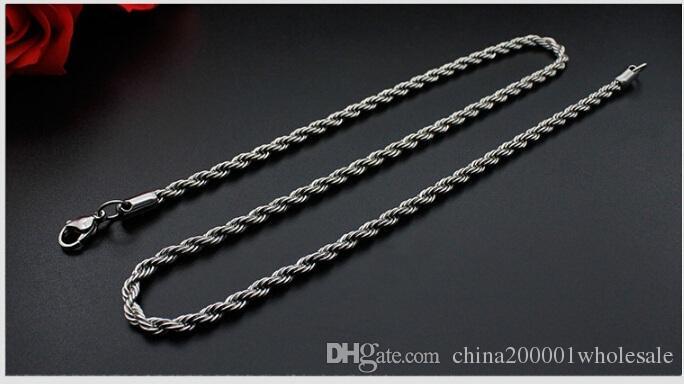 الترقيات الكبيرة! 10PCS الفضة الفولاذ المقاوم للصدأ حبل سلسلة قلادة جراد البحر المشابك سلسلة مجوهرات صنع حجم 2mm في طول العرض 50cm