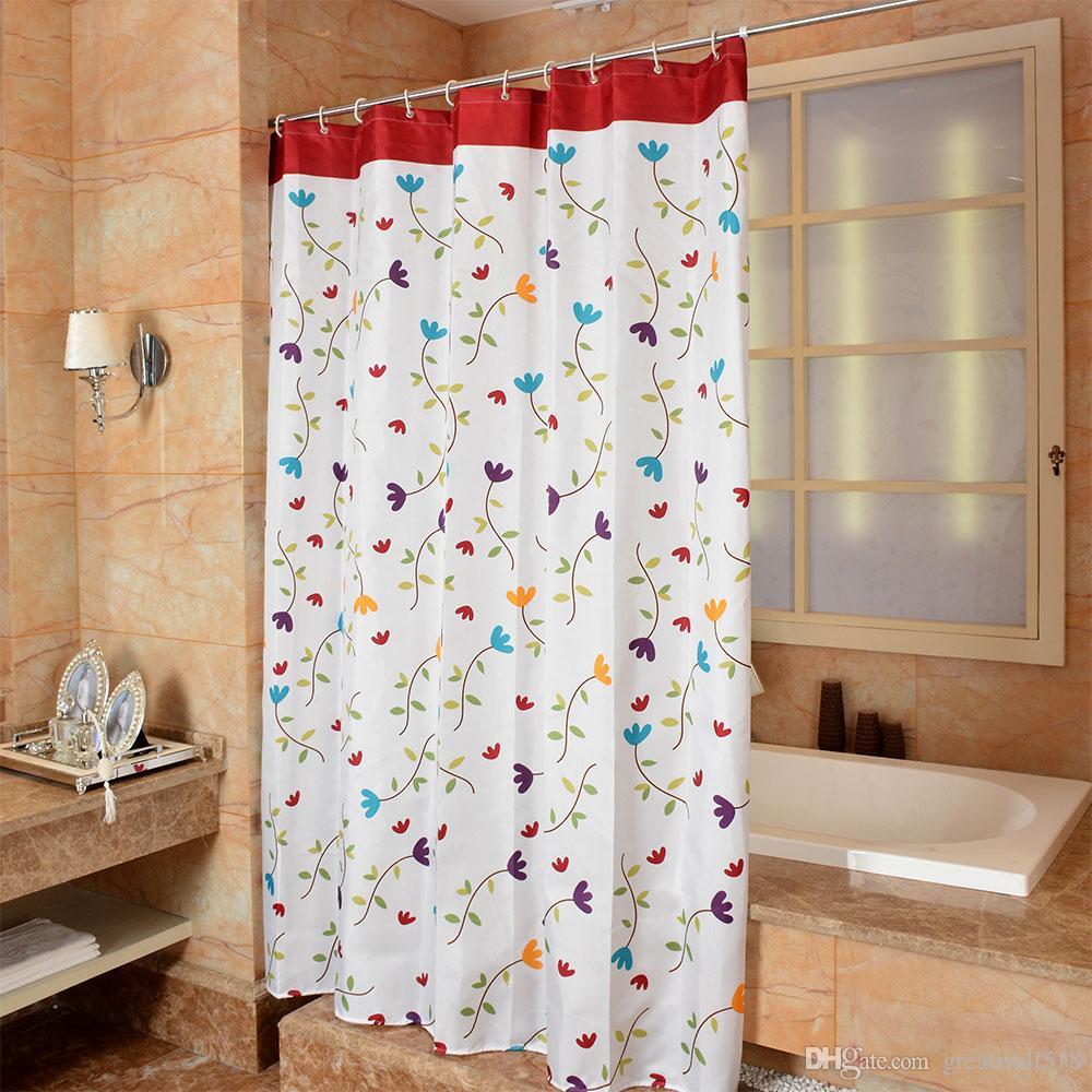 Großhandel Wasserdichtes Duschvorhang 10% Polyester Mehltau Starkes  Badezimmer Vorhänge Lange Blumen Muster Mit Haken Geben Druckgroßverkauf  LJ10